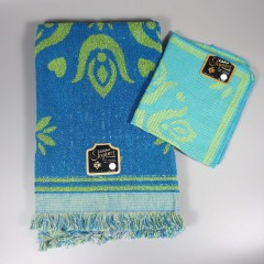 Vintage 1960s Pennsylvania Dutch Hand Towel Washcloth Set - Blue Green