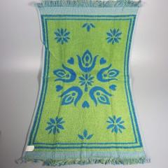 Vintage 1960s Pennsylvania Dutch Hand Towel Washcloth Set - Blue Green