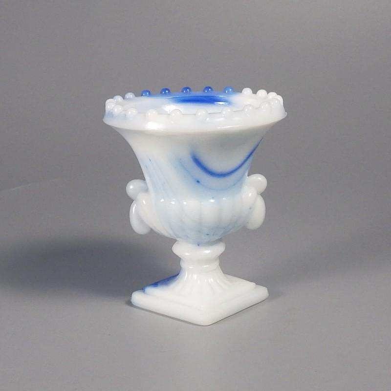 Vintage Akro Agate Beaded Urn Vase Blue White Slag Glass