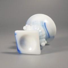Vintage Akro Agate Beaded Urn Vase - Blue And White Slag Glass