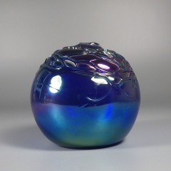 Threaded Signed Levay Intaglio Art Glass Oil Lamp - Cobalt Blue
