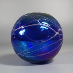 Threaded Cobalt Blue Levay Intaglio Art Glass Oil Lamp