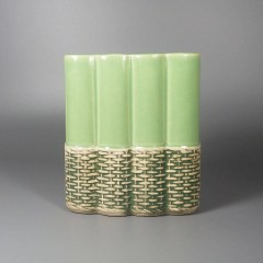 1950s Vintage McCoy Pottery Vase Basket Weave Wicker Lime Green 709-D