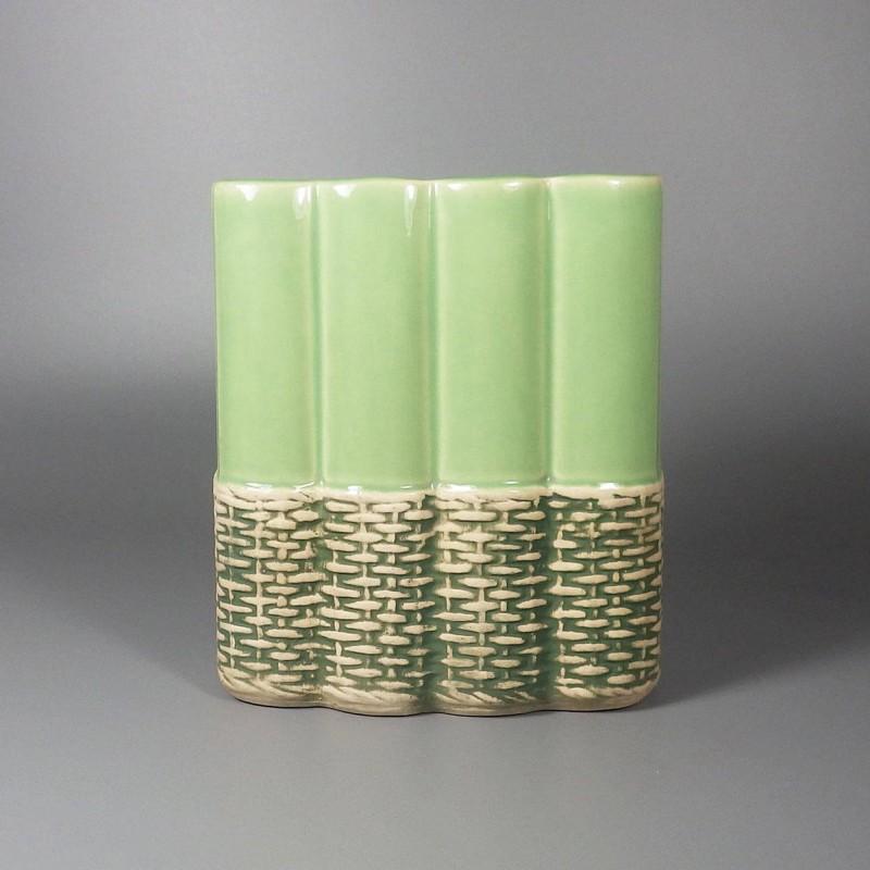 1950s Vintage Mccoy Pottery Vase Basket Weave Green 709 D