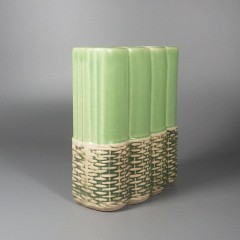 1950s Vintage McCoy Pottery Vase Basket Weave Wicker Lime Green 709D