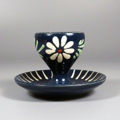 French Soufflenheim Pottery Blue Flowers Vintage Egg Cup