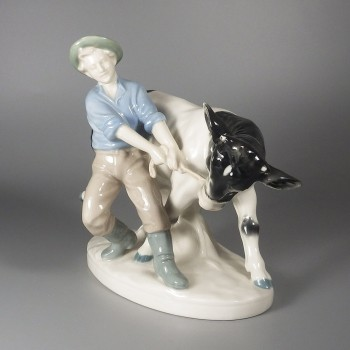 Carl Scheidig Porcelain Figurine Young Man Pulling Young Bull Cow
