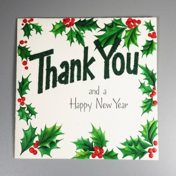 Hallmark Vintage Christmas Thank You New Year Greeting Card - Unused