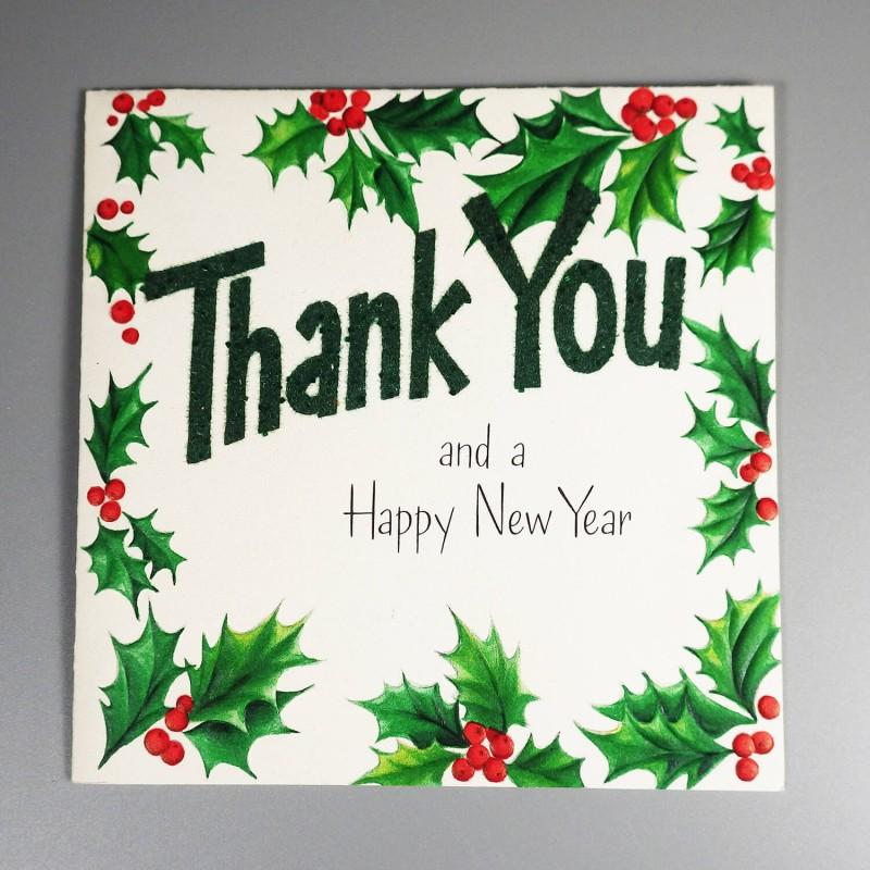 hallmark vintage christmas thank you new year greeting card unused
