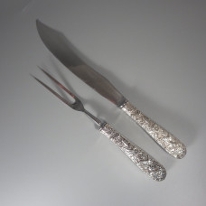 Large S Kirk & Son Repousse Sterling Silver Knife and Fork Carving Set