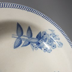 Antique Wedgwood Botanical Soup Plate Pearlware Blue Transfer