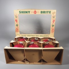 Lot of 6 Red Vintage Large 3 Inch Shiny Brite Christmas Ornaments Box