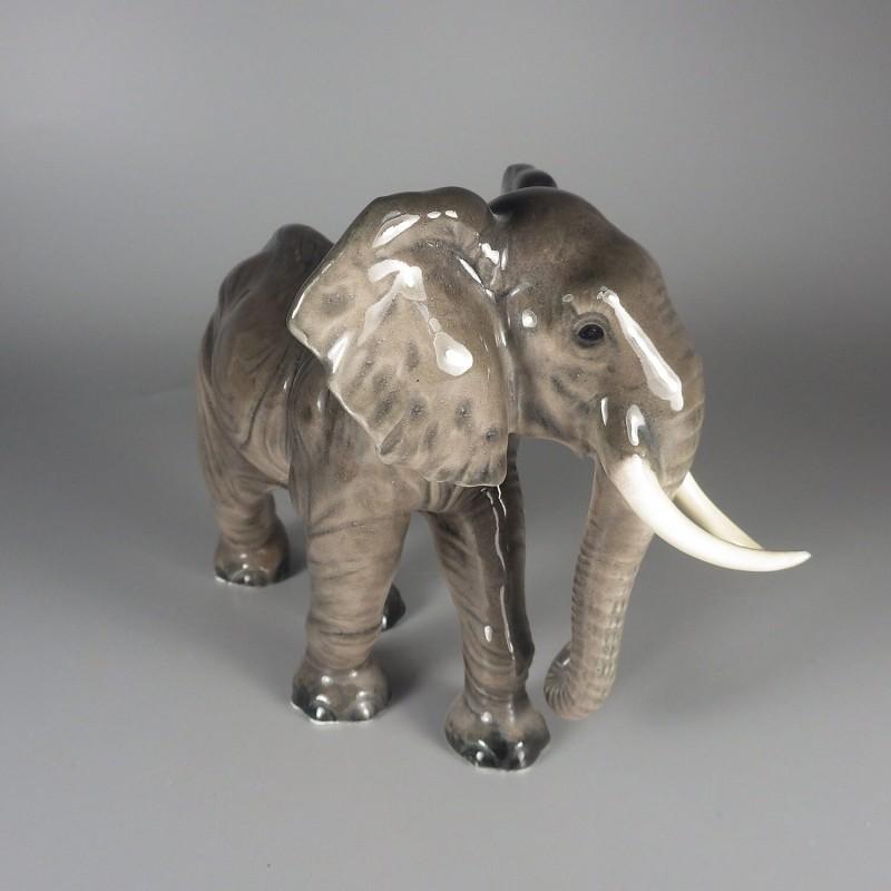 Vintage 1960s Goebel W Germany Porcelain Elephant Figurine