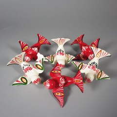 Wooden Bird Vintage Christmas Ornaments Hand Painted Folk Art Lot of 6