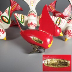 Wooden Bird Vintage Christmas Ornaments Hand Painted Folk Art Lot of 6