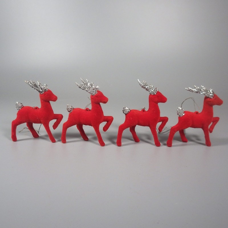 4 vintage red flocked reindeer ornaments glitter antlers japan