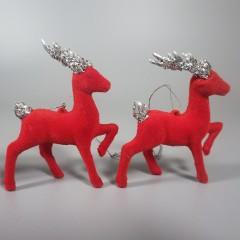 4 Vintage Red Flocked Reindeer Ornaments Glitter Antlers - Japan