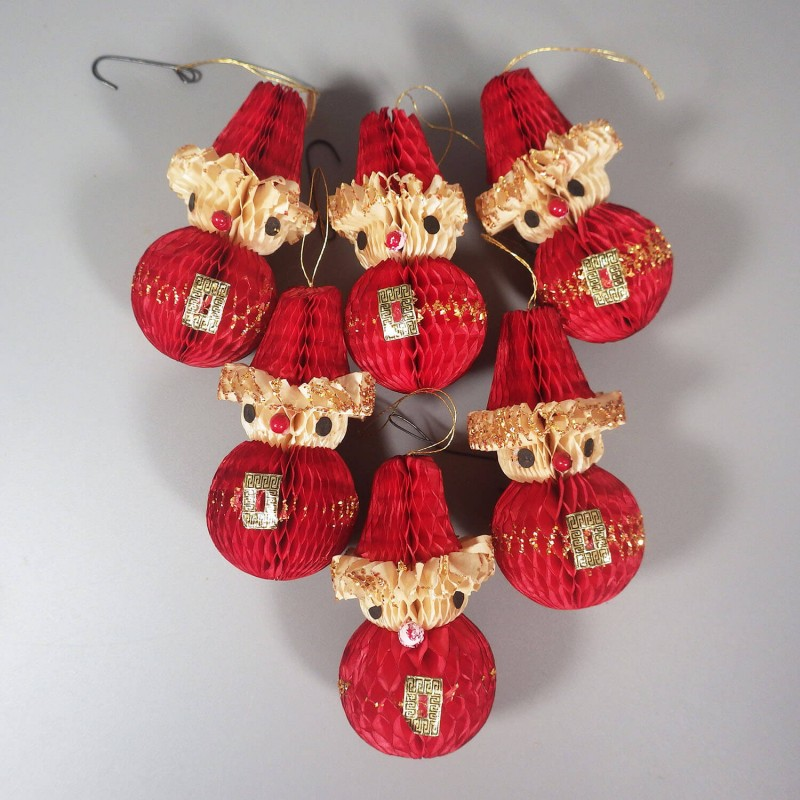 Japanese Christmas Tree Ornaments.6 Vintage Honeycomb Paper Santa Christmas Ornaments Japan
