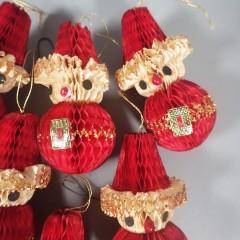 6 Vintage Honeycomb Paper Santa Christmas Ornaments - Made in Japan