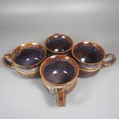 Set of 4 Handmade Studio Pottery Coffee Cups Drip Glaze Signed Nulton