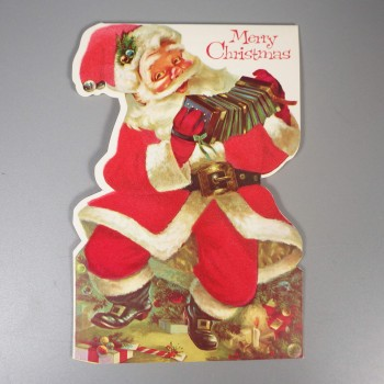 Unused Vintage Flocked Santa Merry Christmas Card - Two-Sided Norcross