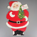 Two-Sided Standing Vintage Flocked Santa Merry Christmas Card Unused