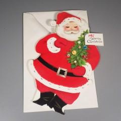 Two-Sided Standing Vintage Flocked Santa Merry Christmas Card Unused