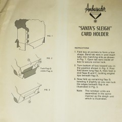 Vintage 3d Hallmark Santa Sleigh Christmas Card Holder Mantel Decoration