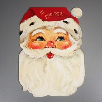 Unused Vintage Hallmark Santa Face Merry Christmas Card Dad Mica Beard