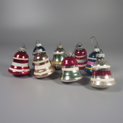 Lot of 8 Striped Vintage Shiny Brite Christmas Bell Ornaments 2 Inch