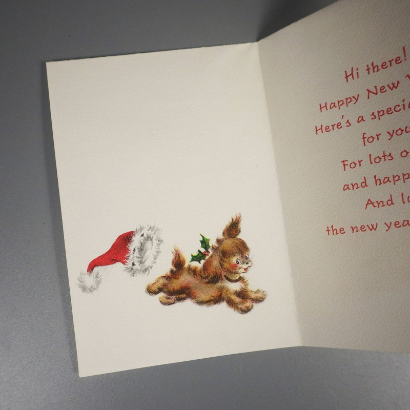 vintage hallmark happy new year card puppy dog in christmas cap