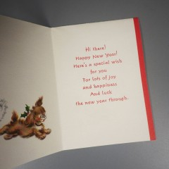 Vintage Hallmark Happy New Year Card Puppy Dog in Christmas Cap