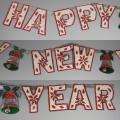 Vintage Die Cut Foil Embossed Happy New Year Indoor Decoration 1950s