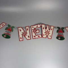 Vintage Die Cut Foil Embossed Happy New Year Indoor Decoration 1950s