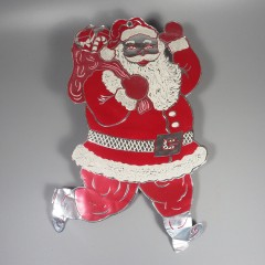 1950s Vintage Santa Die Cut Foil Embossed Christmas Indoor Decoration