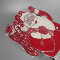 1950s Vintage Santa Die Cut Foil Embossed Christmas Indoor Decoration