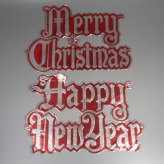Vintage Die Cut Foil Embossed Merry Christmas Happy New Year Decoration