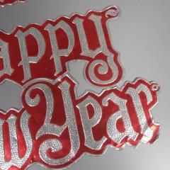 Vintage Die Cut Foil Embossed Merry Christmas Happy New Year Decoration