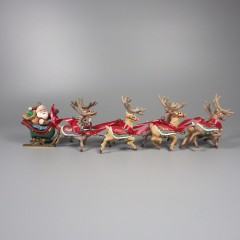 5-Piece 1992 Hallmark Santa and His Reindeer Keepsake Ornament Set