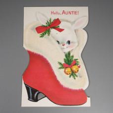 Auntie Unused Vintage Norcross Flocked Die Cut Christmas Card