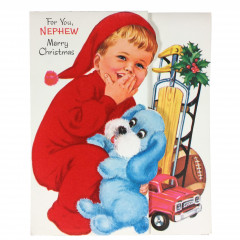 Flocked Unused Nephew Norcross Christmas Card Boy with Toys 3D Tree