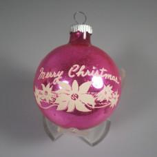 Pink Vintage Shiny Brite Ornament Merry Christmas Stencil
