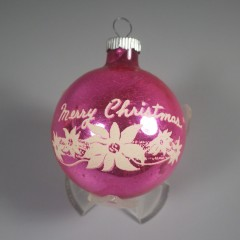 Pink Vintage Shiny Brite Ornament Merry Christmas Stencil