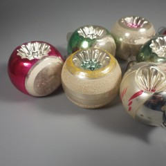7 Double Indent Vintage Ornaments - 6 Shiny Brite