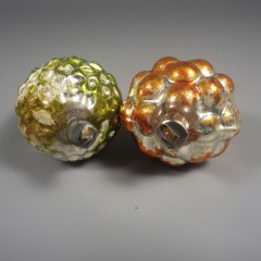 Vintage Acorn and Grape Cluster Blown Mercury Glass Ornaments