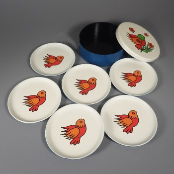 Bird Of Paradise Lacquerware Vintage Coaster Set In Box Made In Japan