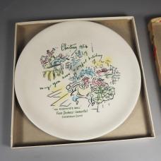 1954 Buffalo China Christmas Carol Plate Mr Fezziwigs Ball +Insert Box
