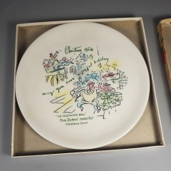1954 Buffalo China Christmas Carol Plate Mr Fezziwigs Ball +Insert Box