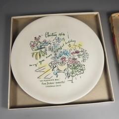 1954 Buffalo China Christmas Plate Mr Fezziwigs Ball +Insert Box