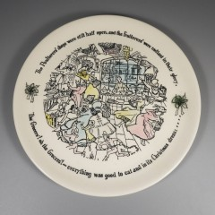 1958 Buffalo China Dickens Plate Ghost of Christmas Present + Insert Box